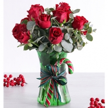 send holiday 12 red roses in glass vase to philippines
