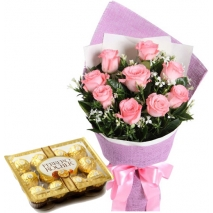 12 Pink Roses with Ferrero Chocolate Box