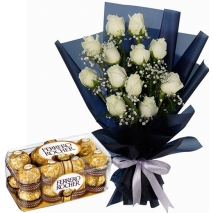 12 White Roses with Chocolate Box