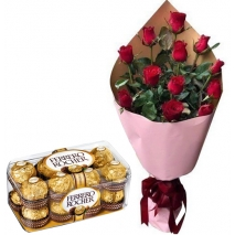 12 Pcs. Roses Bouquet with Ferrero Box