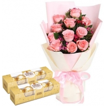 12 Roses with Ferrero Chocolate Box
