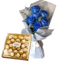 6 Blue Roses with Ferrero Rocher Box
