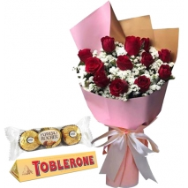 12 Red Color Roses with Chocolate
