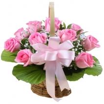 12 Pink Roses in Basket
