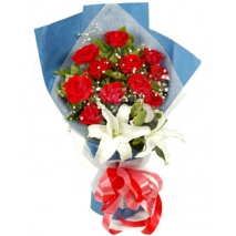 12 red roses with 1 lilie in  bouquet