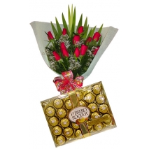 Magnificent rose with 24 pcs chocolate philippines
