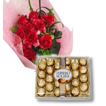 12 red Roses with 24 pcs Ferrero chocolate box To Philippines